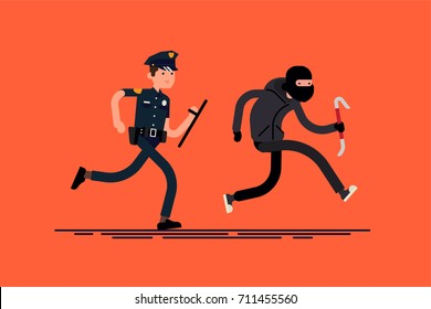 Male cop pursuing burglar. Criminal with crowbar running away from policeman. Cool vector flat character design on police officer chasing thief