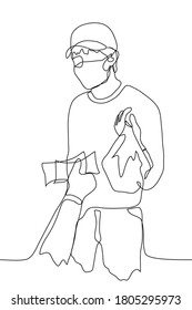 male courier in a mask stands and holds out a package with an order, in response, someone's hand holds out banknotes to him. One continuous line drawing of order delivery process and cash payment