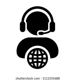 Male customer service icon vector person profile symbol with headset for internet network online support in glyph pictogram illustration