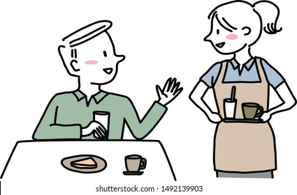 Male customer talking to cheerful waitress who holding a beverage tray. Cute waitress with apron holding tray of drink and waiting for food order from male patron. Server taking order from patron.
