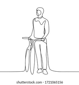 A male cyclist stands directly holding on to the wheel of his bicycle, he looks into the distance. One continuous line art of an athlete on a bicycle stopping to see the road. For animation