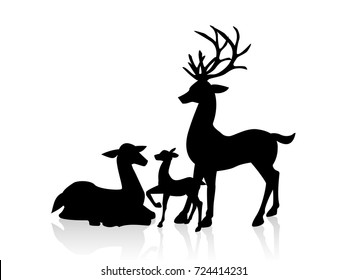 male deer, female deer and a little deer icon illustration isolated vector sign symbol. Design for Xmas cards, banners and flyers, vector illustration isolated on white background. Deers family.