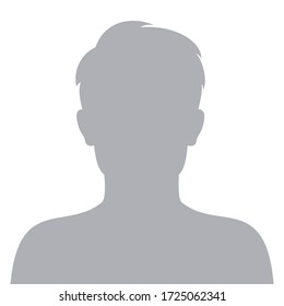 Male default avatar profile icon. Man face silhouette person placeholder. Vector illustration.