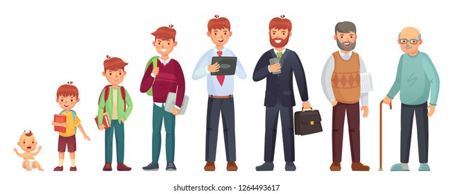 Male different age. Newborn baby, teenage boy and student ages, adult man and old senior. People generations or male aging process. Kid, student and adult man, life cycle isolated vector illustration