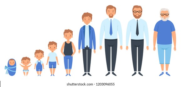 Male different ages. Newborn teenage boy man person old grandfather adult peoples vector clipart isolated. Generation male character, growing and development process illustration