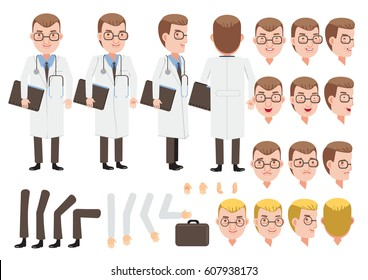 Male Doctor character creation set. Icons with different types of faces and hair style, emotions,  front, rear, side view of male person. Moving arms, legs. Vector illustration