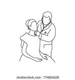 male doctor check up female patient vector illustration outline sketch hand drawn with black lines isolated on white background. Comprehensive physical examination. asmr. Health care concept.