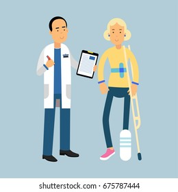 Male doctor giving recommendations to the female patient with a broken leg, vector Illustration