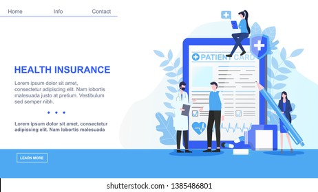 Male Doctor Man Patient Card Woman with Pen Sign Health Insurance Contract Vector Illustration. Medical Treatment Family Healthcare Emergency Hospital Help Pharmacy Medicine Support