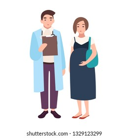 Male doctor, medical adviser, obstetrician or gynecologist and pregnant woman or female patient. Visit to clinic or hospital, meeting with physician. Vector illustration in flat cartoon style.