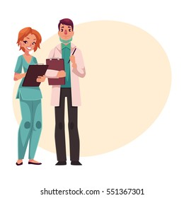 Male doctor in medical mask and female nurse in blue uniform holding clipboards, cartoon vector illustration on background with place for text. Male doctor and female nurse, health care professionals