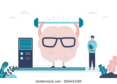 Male doctor monitors brain training. Brain raises heavy weight bar. Concept of healthcare, medicine and improvement of skills. Medical staff in uniform. Banner in trendy style.Flat vector illustration
