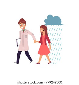 Male doctor, psychiatrist helping a woman to cope with depression, cartoon vector illustration isolated on white background. Doctor helping a woman to recover from sadness, psychiatrist care concept