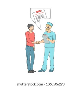 Male doctor shaking hand to man patient holding marrow bone, blood donation questionnaire document. Medical agreement concept. Vector sketch isolated background illustration.