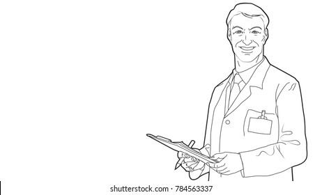 Male doctor with a stethoscope holding a clipboard. Medical staff. Isolated illustration on white background. Hand-drawn  line vector sketch.