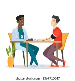 Male doctor in uniform examine patient. Medical checkup and health examination. Professional treatment. Isolated vector illustration in cartoon style