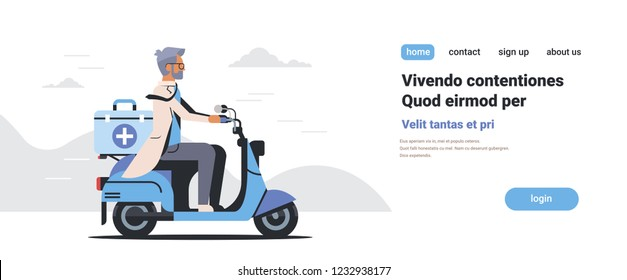 male doctor in uniform riding scooter with medical surgical box first aid concept isolated flat horizontal copy space vector illustration