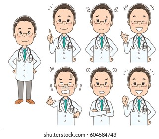 Male doctor with various expressions