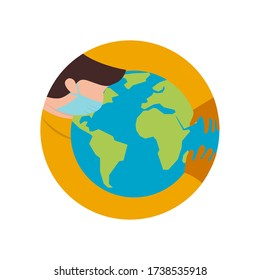 Male Doctor Wearing Mask Holds and Hugs the World. Protecting and Healing the World from Global Pandemic. Simple Flat Design Vector. Drawing Illustration.