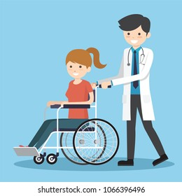 Male doctor with wheelchair patient. People in hospital transporting person unable to walk. Medicine, healthcare concept. Vector flat style cartoon illustration.