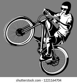 male doing bike trick - black white vector illustration