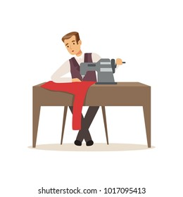 Male dressmaker sewing clothes by sewing machine, clothing designer or tailor working at atelier vector Illustration