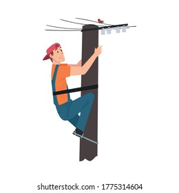 Male Electrician Engineer Working on Electric Power Pole, Electricity Maintenance Service Worker Character Cartoon Style Vector Illustration