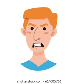 Male emoji cartoon character. Flat style emotion young men avatar. Colorful vector illustration of isolated guy face with angry expression.