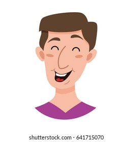 Male emoji cartoon character. Flat style emotion young men avatar. Colorful vector illustration of isolated guy face with happy