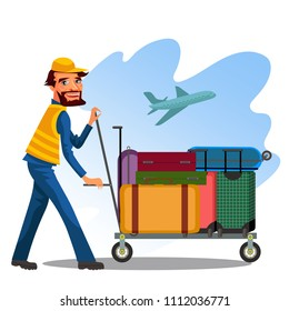 Male employee is carrying cart with baggage of suitcases and bags at airport on background of take-off plane, a man in a service uniform airplane in sky, a staff with a luggage vector illustration