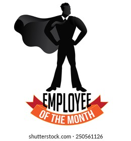 Male employee of the month isolated on white EPS 10 vector royalty free stock illustration perfect for promotion, ads, marketing, poster, motivation, awards, meetings, infographic, trade show
