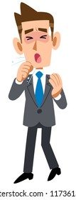 Male employee wearing a suit in poor physical condition cough