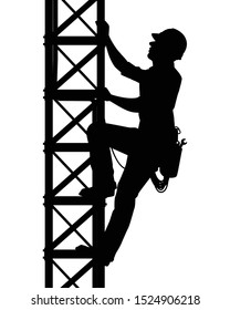 Male engineer is climbing on tower or electric post silhouette vector.