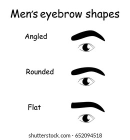 Male eyes and eyebrows vector elements Illustration. How to shape men's brows.