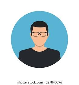 Male face avatar on white background. Flat cartoon style. Vector illustration.
