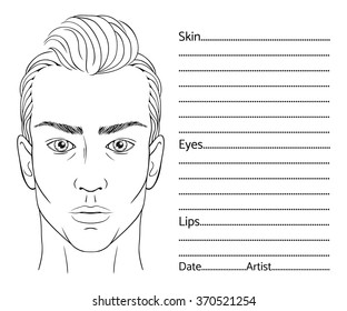 Male face chart blank for professional make-up artists. EPS 10 vector.