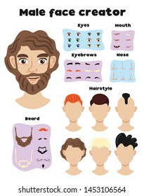 Male face creator set of elements and face templates with different hairstyle and hair colors vector illustration