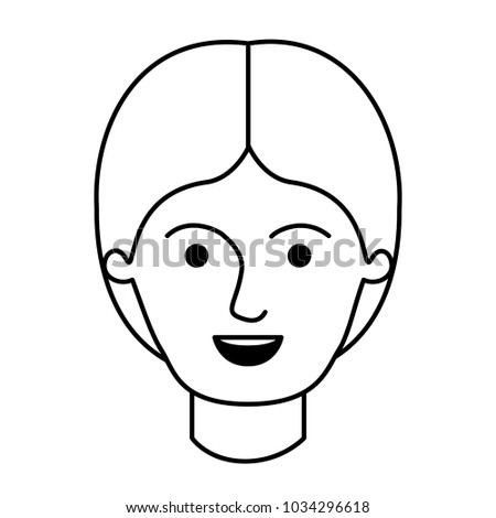 Male Face Middle Part Hairstyle Monochrome Stock Vector Royalty