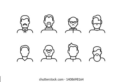 Male Face Various Types Signs Thin Line Icon Set Include of Avatar User, Portrait or Person Head. Vector illustration of Icons