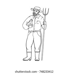 Male farmer in boots and wide-brimmed straw hat, with chicken and a pitchfork in his hands. Worker in the agricultural sector. People of professions. Vector black sketch of realistic illustration.