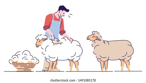 Male farmer shearing sheep flat vector character. Wool production. Livestock farming, domestic animal husbandry isolated cartoon concept with outline. Shearer, farm worker cutting merino wool