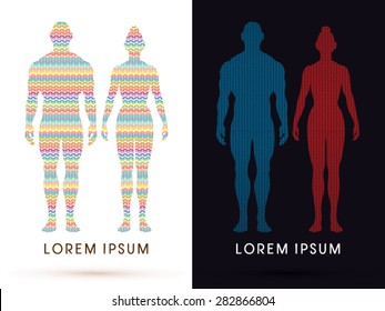 Male and female Anatomy, Human body, full body, designed using colorful zigzag line, graphic vector.