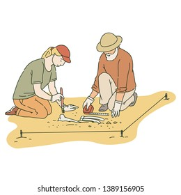 Male and female archaeologists working on site with special tools sketch style, vector illustration isolated on white background. Archeology or paleontology excavation of ancient bones