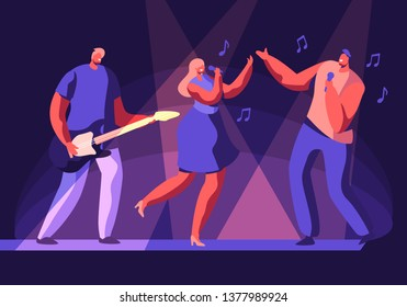Male and Female Artists Performing on Scene with Musical Entertainment. Girl and Man Singing Song, Guitar Player Accompany. Talent Show or Music Band Concert on Stage. Cartoon Flat Vector Illustration