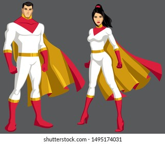 Male and female Asian superheroes isolated on grey background.
