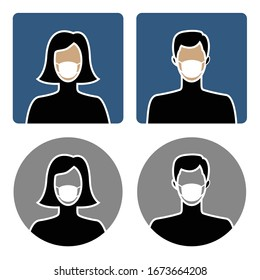 Male and female avatar icons with medical face masks, flat design
