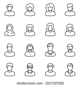 Male and female avatars icon set. People, linear design. Collection of different icons. Line with editable stroke