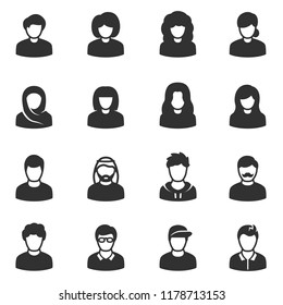 Male and female avatars, monochrome icons set. Peoples, simple symbols collection