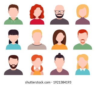 male and female avatars without a face on a white background. portraits of men and women, boys and girls.