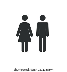 Male female bathroom icon. Restroom boy or girl lady sign symbol. Toilet wc vector concept.